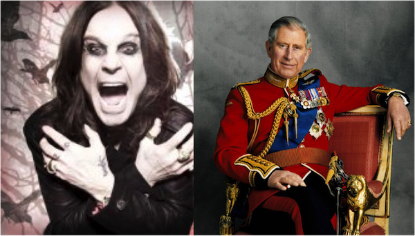 side by side photo of Ozzie Osbourne and Prince Charles