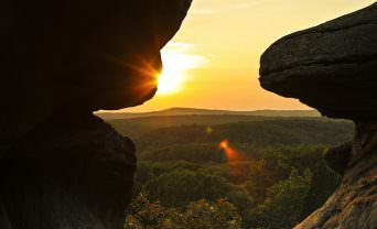 Sunrise from behind a rock